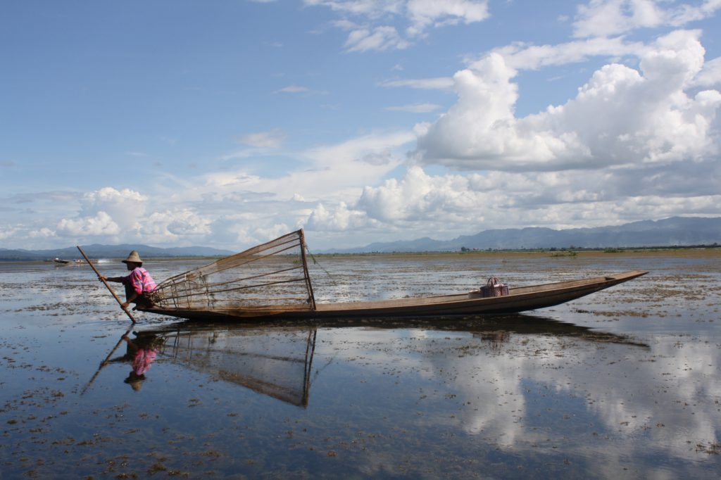 a fisherman on lake Inle in Shan states