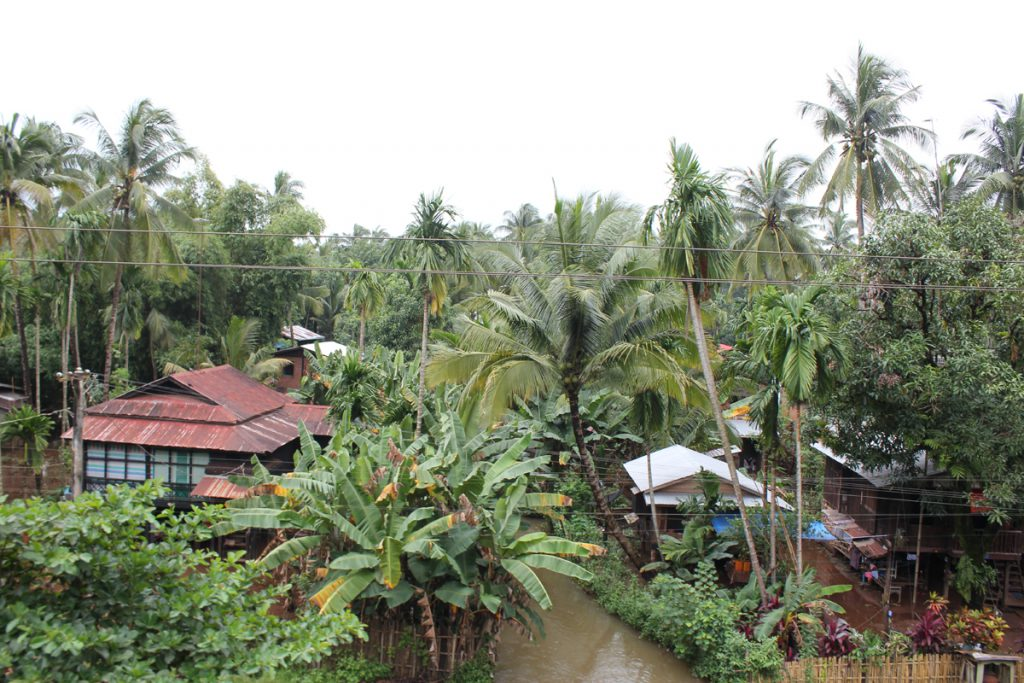 a village after heavy rain falls
